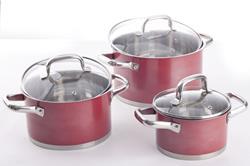 Komplet garnków ze stali nierdzewnej, czerwone, 6 elementów - SPRING